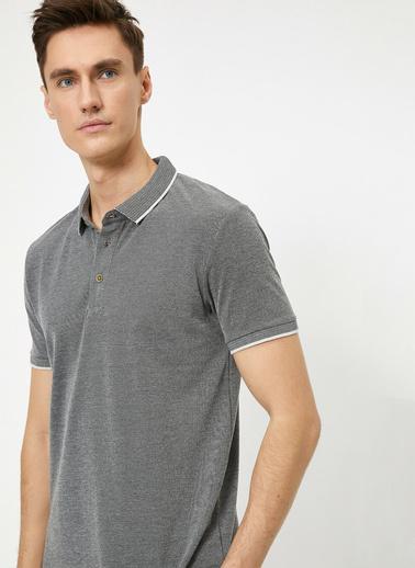 Koton Polo Yaka Kol Ucu ve Yakasi Çizgili Slim Fit T-Shirt Gri